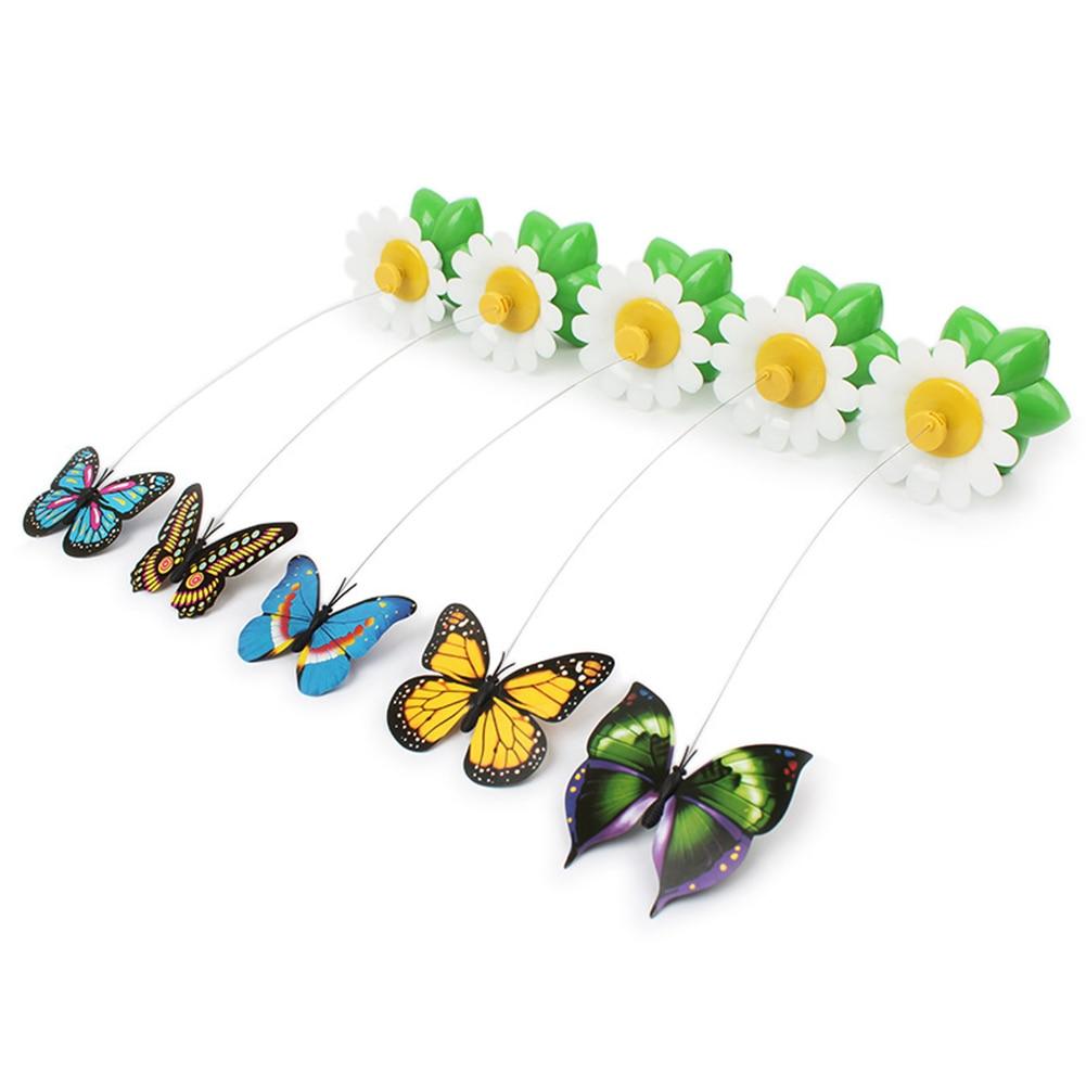 Mais novo engraçado animais de estimação gatos brinquedo elétrica rotativa borboleta pássaro fio de aço gatos teaser para pet gatinho jogar brinquedos