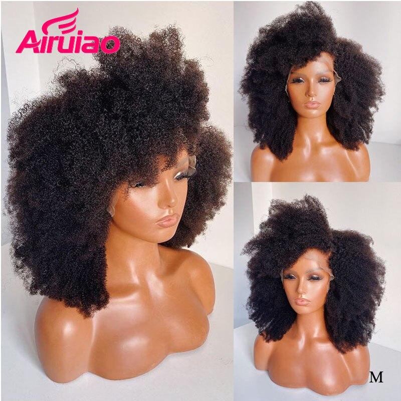 Peluca Frontal de encaje rizado Afro sin pegamento 13X6 peluca Invisible HD transparente de pelo humano Remy para mujeres negras