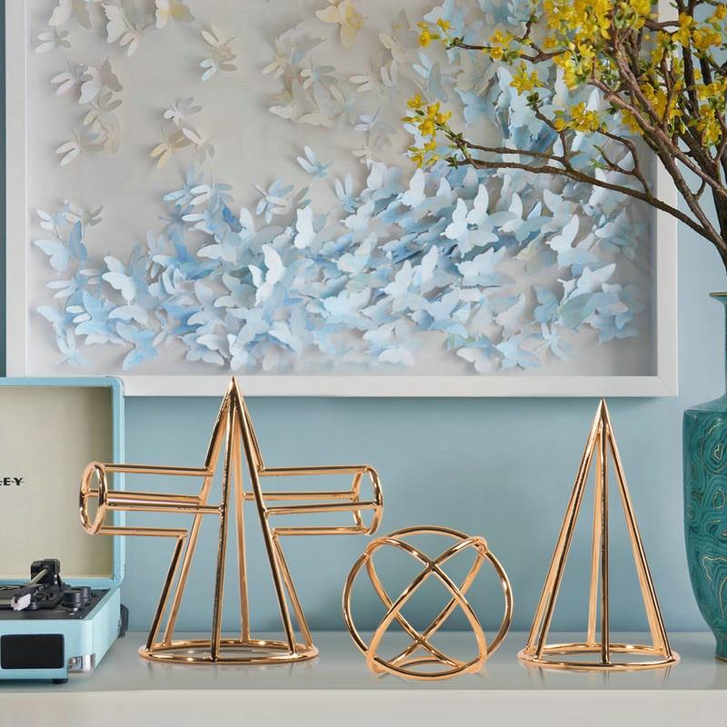Galvanoplastia de Metal Criativo Geometria Ferro Arte Mesa Topo Pequenos Ornamentos Luz Luxo Vento Modelo Sala Estudo Decorações Suaves