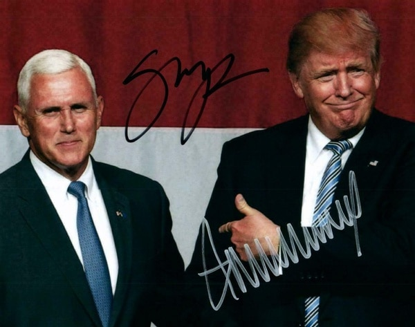 Donald Trump / Mike Pence Autographed Signed Photo Metal Sign 8x12inch Home Kitchen Bar Pub Outdoor Wall Decor