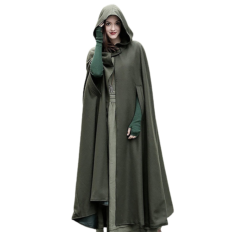 Anbenser Fashion Women Long Cape Cloak Hooded Wool Blend Coat Sleeveless Winter Poncho Cardigan Festival Party Costume Plus Size snap button hooded drop shoulder wool blend coat