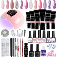 aopmall%c2%ae 6 color poly nail gel with 6 color nail gel polish manicure nail set brush nail kit professional set for nails