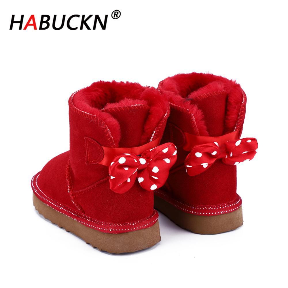 HABUCKN 2020 новые модные милые детские зимние ботинки из воловьей кожи теплые зимние ботинки детская красная черная обувь ботинки с бантом