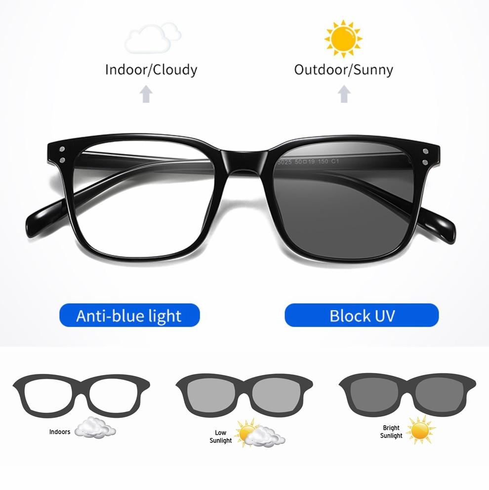 Anti-blue Light Photochromic Sunglasses Men Women Polarized Chameleon Change Color Sun Glasses Day N