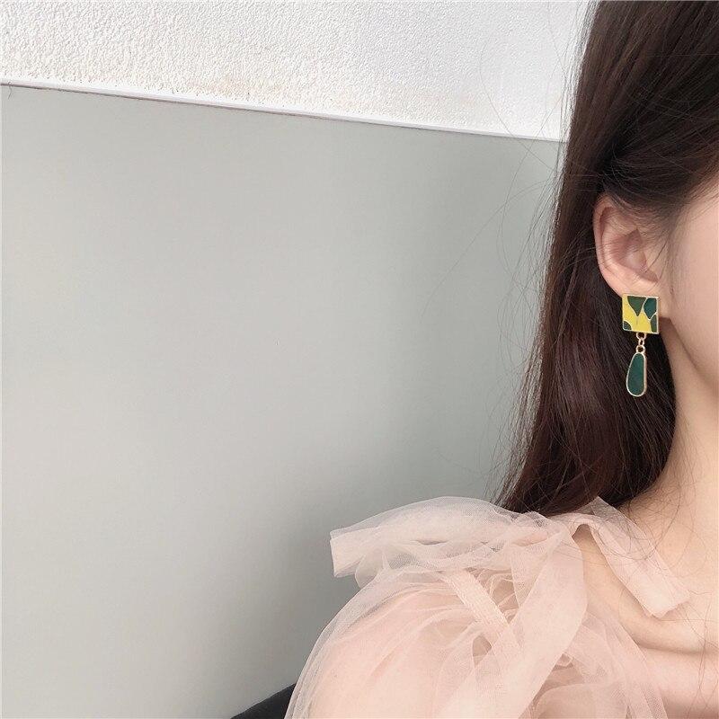 Fashion Green Pattern Geometric Clips Earrings Simple Pendant Earrings  - buy with discount