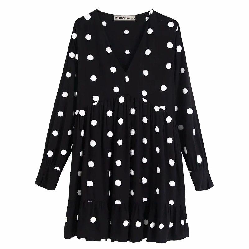 Feminino doce ponto bordado preto vestidos bainha plissados babados mini vestido senhoras outono v pescoço de pele bola costura vestidos ds2881