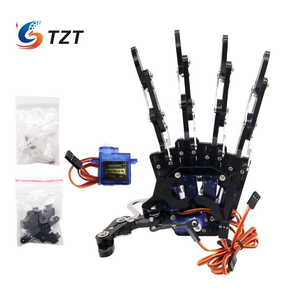 TZT ensambló cinco dedos mano derecha y mano izquierda con Servos pinza mecánica brazo garra pinza para Robot DIY