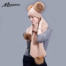 Chapeau en fourrure avec Pompon pour femme   Ensemble écharpe deux pièces, en laine tricotée et Crochet avec fourrure naturelle, pour lextérieur, collection automne et hiver