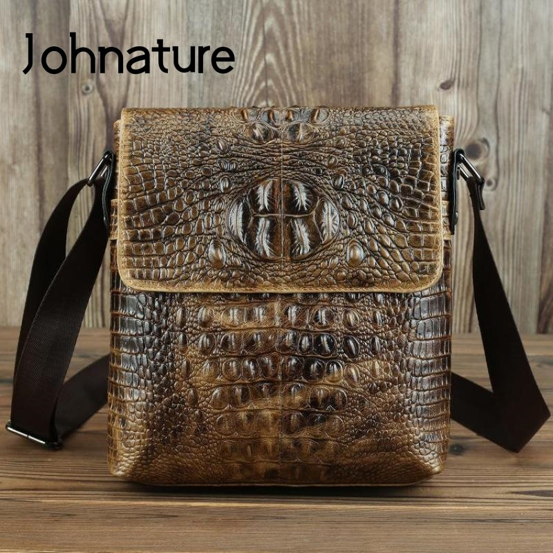 Johnature Vintage Genuine Leather Men Bag 2020 New Simple Crocodile Pattern First Layer Cowhide Small Shoulder Messenger Bags