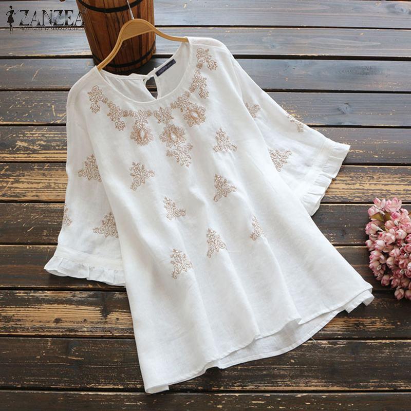 2020 verano Floral bordado blusa ZANZEA Vintage algodón camisa mujeres encaje Up manga corta Blusas Mujer túnica Tops Chemise