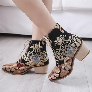 Fashion embroidered riding boots women autumn and winter new lace high heel low boots women's boots zapatos de mujer women shoes