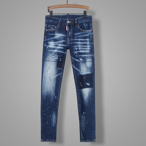 2021Hot Men's pants Dsquare ripped patch painted varnished men's   Hole in the street d2  jeans