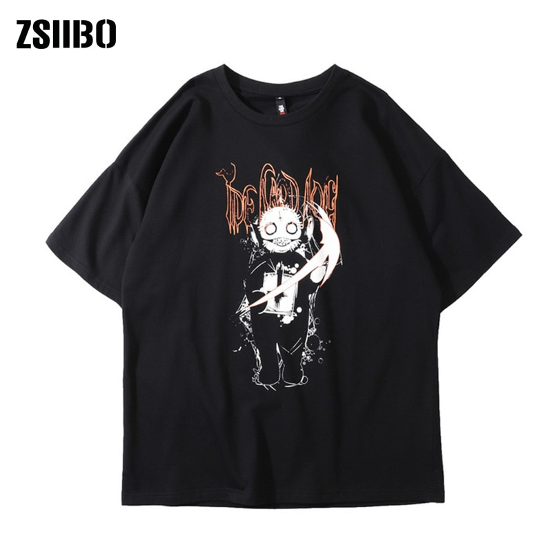 Camiseta de manga corta de marca Original tide, muñeca de tendencia para hombre, camiseta negra de algodón con base suelta de hip hop de devil street para hombre
