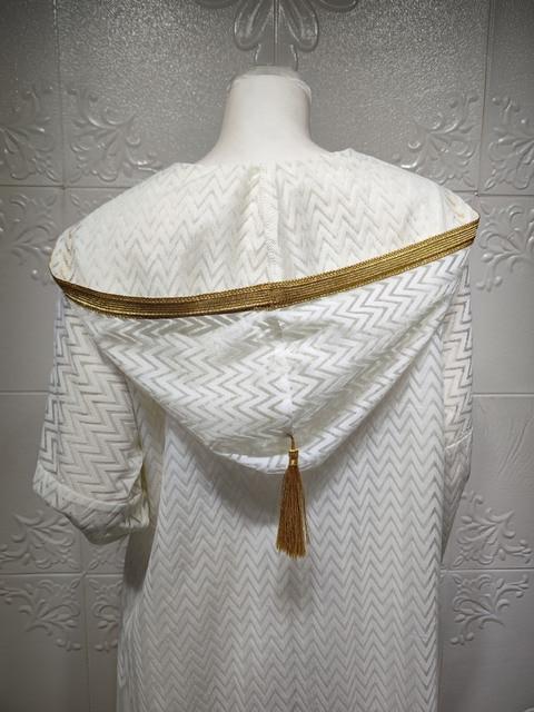 Middle East Muslim Islamic Eid Al-Adha Festival Gurban Gold Embroidered Hooded Net Yarn Big Tunic Dubai Arab Women's Clothing 8