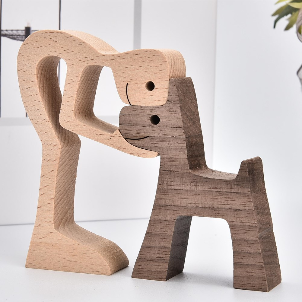 AliExpress - Home Decoration Puppy Family Wooden Dog Craft Statue Cute Human And Dog Table Figurin Decor Healing Ornaments Perro de madera