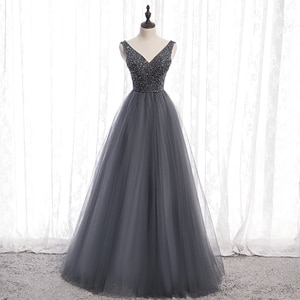 Gorgeous Gray Evening Dresses Sparking Beading Sequins Long Prom Dress lace-up Back