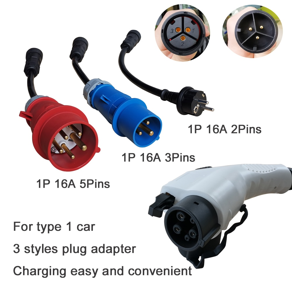 Khons EVSE Type 1 Electric Vehicle EV Charger SAE J1772 With Schuko Plug 16A Adjustable 5M Cable Portable Charging Connector enlarge