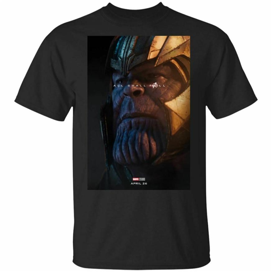 Thanos Avengers Endgame camiseta All Shall otoño manga corta negro camiseta S-3Xl Digital impreso camiseta
