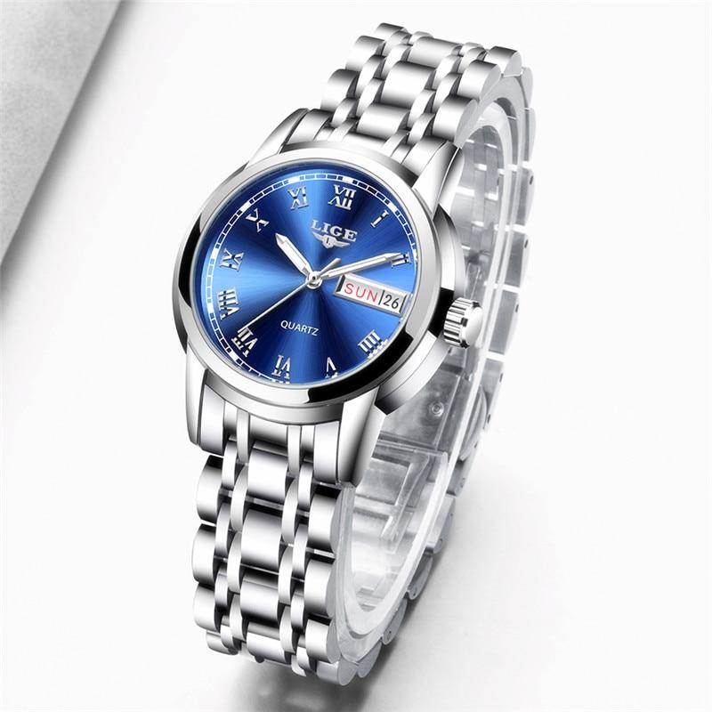 Reloj de cuarzo LIGE para mujer, relojes de lujo con fecha y semana, reloj femenino de acero inoxidable