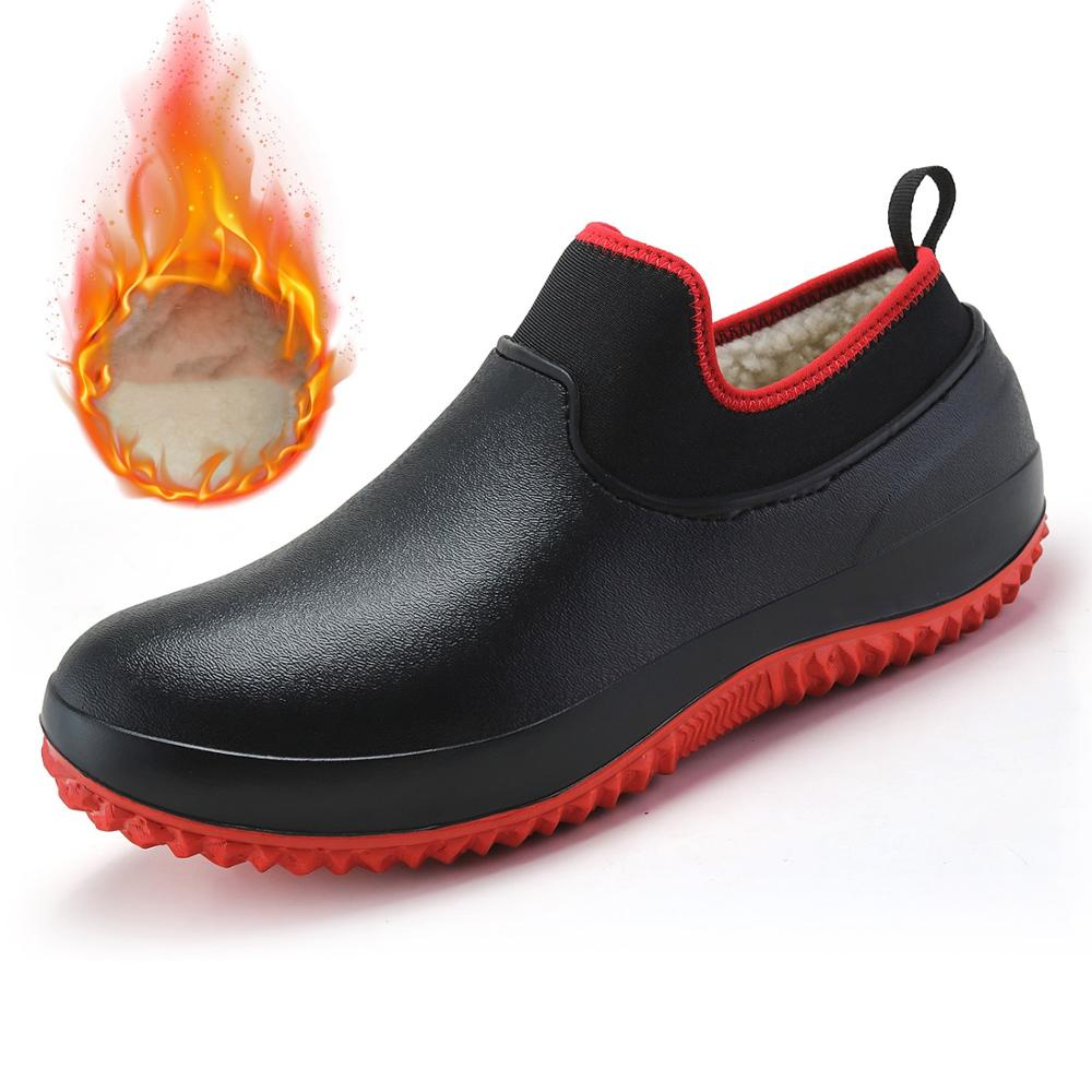 Brand Unisex Non-slip Winter Waterproof Garden Shoes Men's Rain Shoes Car Wash Work Shoe Elasticity Warm Fur Ankle Safety Boots