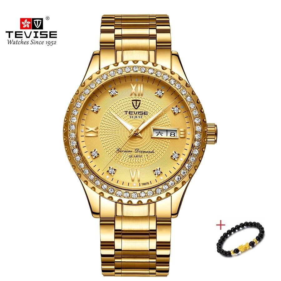 TEVISE Luxury Gold Stailness Steel Quartz Watch Fashion Men Luminous Waterproof Clock Mens Wristwatc