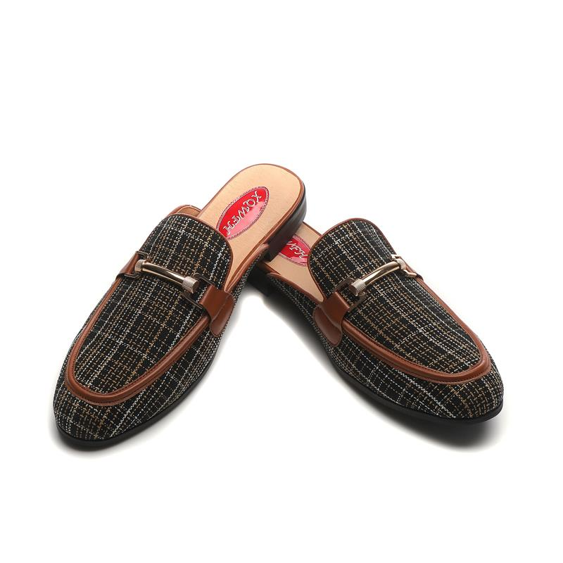 Gree القماش المتسكعون الرجال البغال النعال عارية الذراعين الانزلاق على الشقق الصنادل اليدوية حفلة حذاء كاجوال