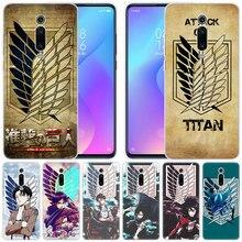 Coque en silicone de luxe attaque danime sur le LOGO Titan pour Xiao mi Pocophone F1 mi 9T Pro CC9 CC9E 9 9SE 8 A3 A2 Lite A1 5X 6X mi x3 Play