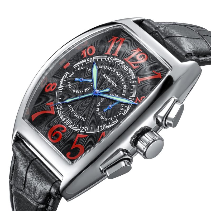 Business Luminous Men's Trendy Leather Strap Tonneau Mirror Fashion Automatic Mechanical  Luxury Watches WA96