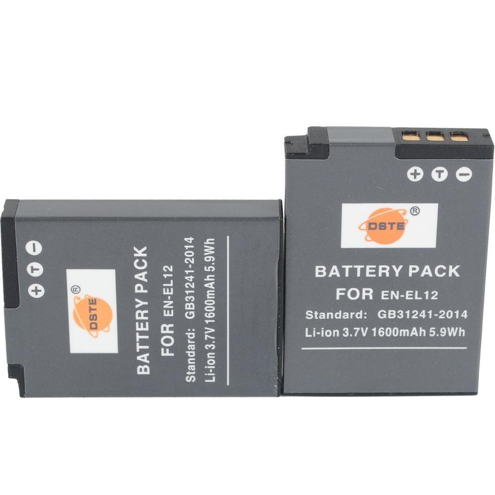 DSTE 2 uds EN-EL12 de batería de la cámara para Nikon P300 P310 P330 S1000 S1100pj S1200pj S31 S6000 S610 S6100 S6150 W300S Cámara