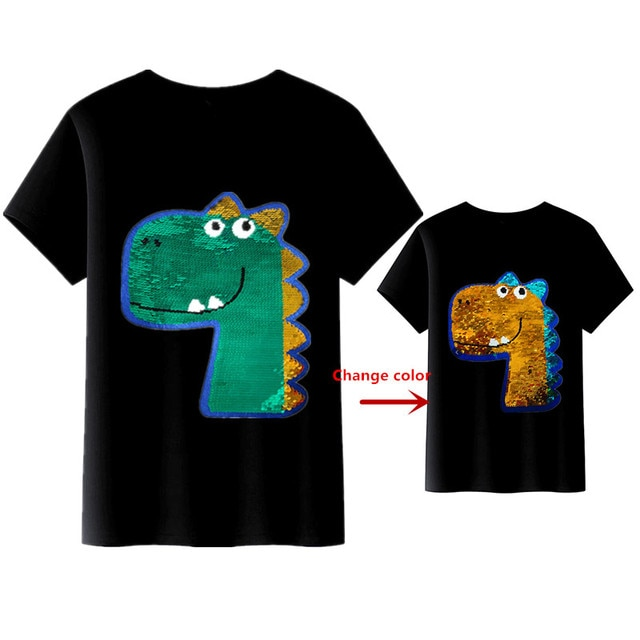 Children T-Shirts Cartoon Summer Cotton Boys Tshirts Clothes with Magic Sequin Reversible for Kids 3 4 5 6 8 10 12 Y