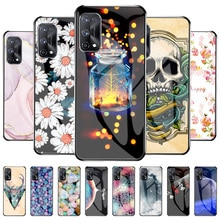 Case For OPPO Realme X7 5G Tempered Glass TPU Flowers Phone Cases On OPPO Realme X7 5G Funda Coque S