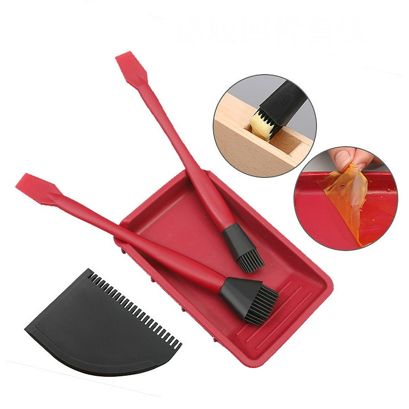 Juego de 4 unid/set de herramientas de cepillo de silicona para carpintería cepillo de pegamento lavable cepillo de pegamento suave raspador plano bandeja de pegamento herramienta de cepillado de madera
