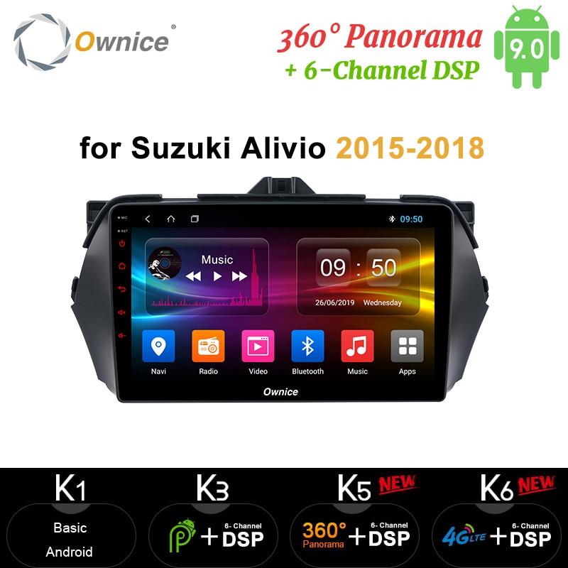 Ownice Android 9.0 4G RAM 64G Car dvd Stereo Radio GPS 4G headunit NAVI 360 Panorama DSP 4G SPDIF for SUZUKI Alivio 2015 - 2018