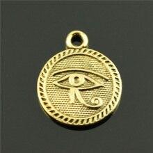 40 pièces couleur or Double face oeil dhorus 15mm pendentif breloques vente en gros en vrac accessoires de bijoux de mode