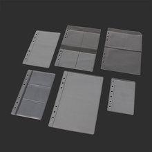 10 pièces A5A6A7 porte-carte de rangement Transparent anneaux de reliure cahier 6 trous pochettes de rangement Document carte postale modèle de carte bancaire
