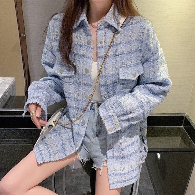 Куртка женская твидовая в клетку, винтажная шерстяная верхняя одежда в стиле оверсайз, свободная элегантная уличная одежда в Корейском сти...