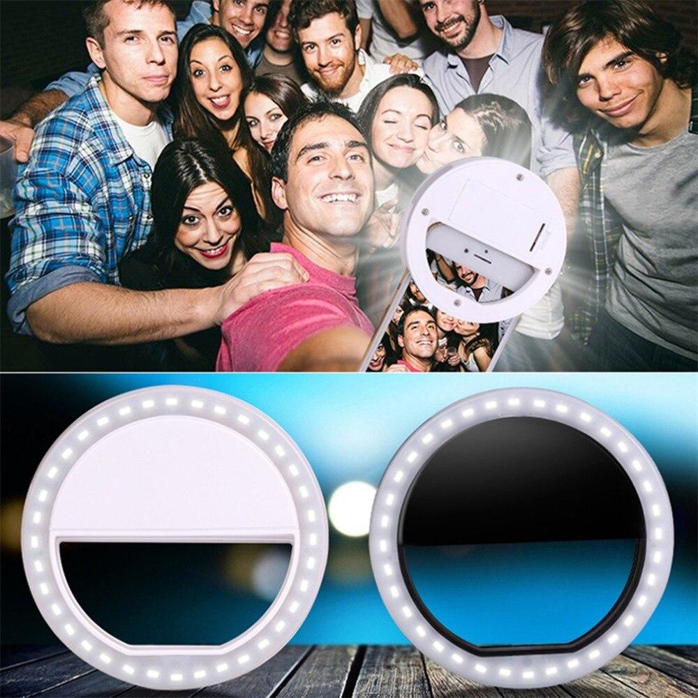 Universal Selfie LED anillo Flash Luz Portátil teléfono móvil 36 LEDS lámpara Selfie anillo luminoso Clip para iPhone x 7 6 Plus Samsung