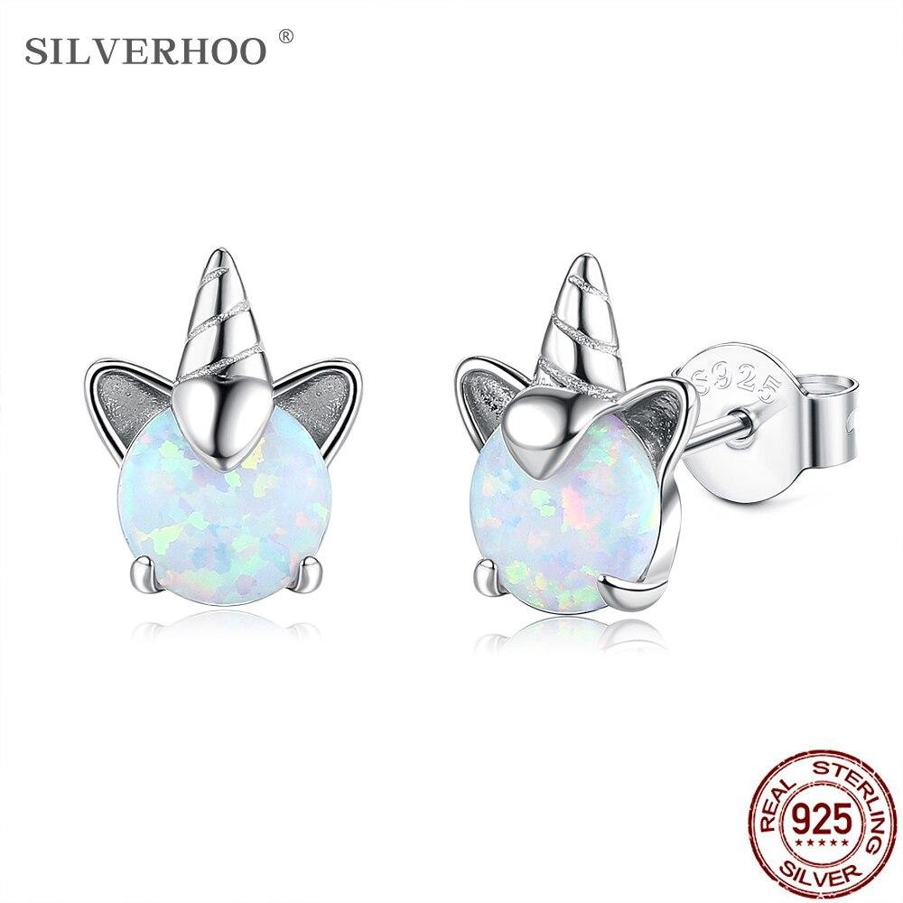 SILVERHOO 925 Sterling Silver Cute Unicorn Colorful Opal Stud Earrings For Women Wedding Small Earrings Fine Anniversary Jewelry