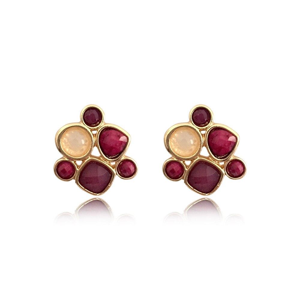 Elegante pendiente pequeño y dorado de piedra Color crema Burdeos púrpura, pendientes para mujer, chica, joyería de oficina para mujer, fiesta de cena