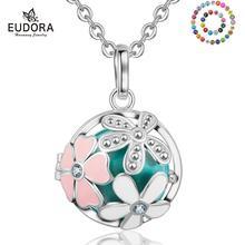 Eudora 20 mm harmonie enceinte Bola boule pendentif collier rose fleur médaillon Cage pendentifs pour femmes bijoux pour femmes meilleur cadeau