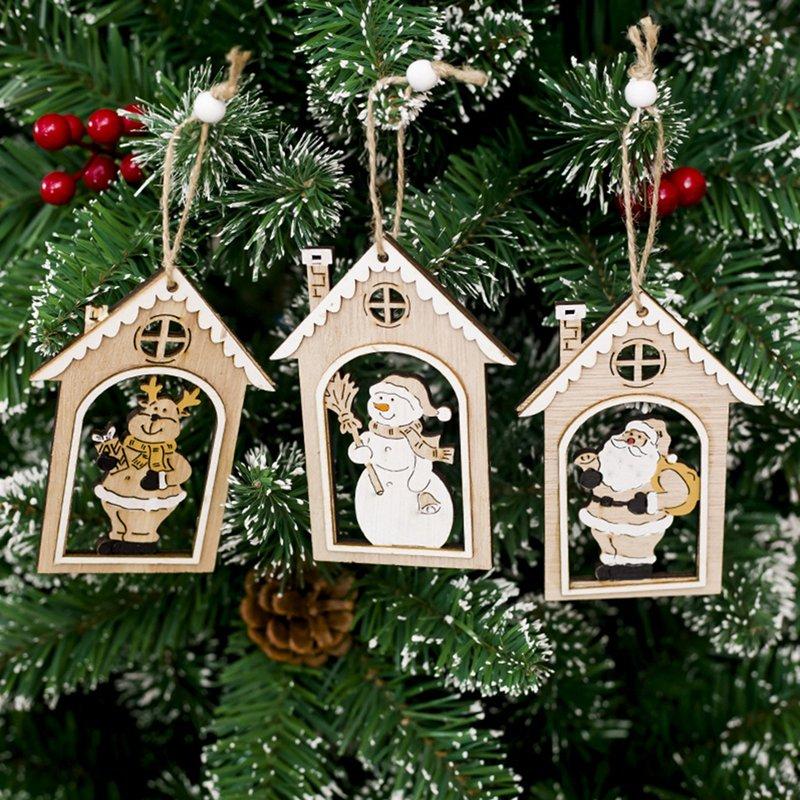 1 Uds estampado calado adornos colgantes de madera ornamento de árbol de Navidad DIY madera artesanía niños regalo para el hogar decoraciones de fiesta de navidad