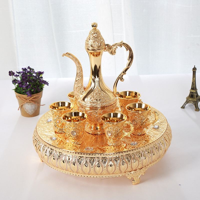 New small pattern wine pot wine distributor household drinking utensils with high plate and diamond for Party