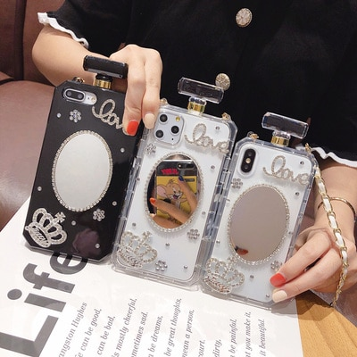 De Lujo cristal ostentoso de cadena de diamante bolso de la botella de Perfume de funda con cordón para iPhone 11 Pro MAX 6S 6 7 8Plus X XS X MAX XR teléfono caso