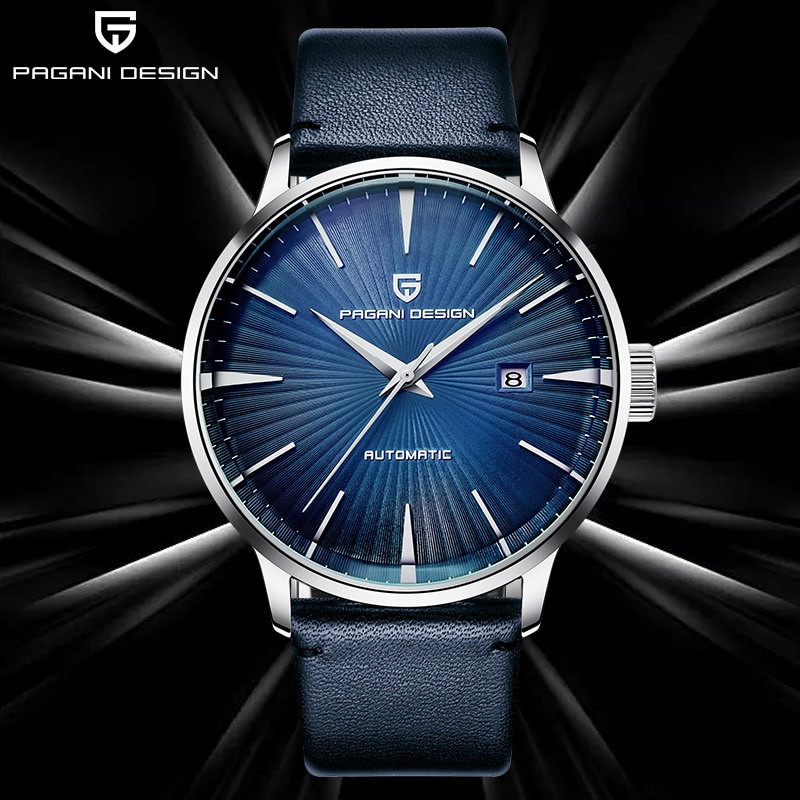 PAGANI DESIGN Top Brand Men's Watches Mechanical Sport Blue Wristwatch Mens Fashion Business Watch Male Waterproof leather Clock
