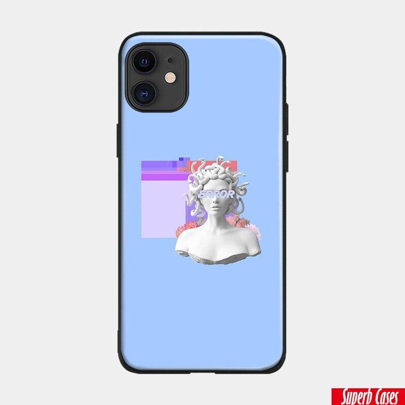Vaporwave pastel encabeçamento azul macio silicone caso do telefone capa escudo para o iphone 6 s 7 8 plus x xr xs 11 pro max