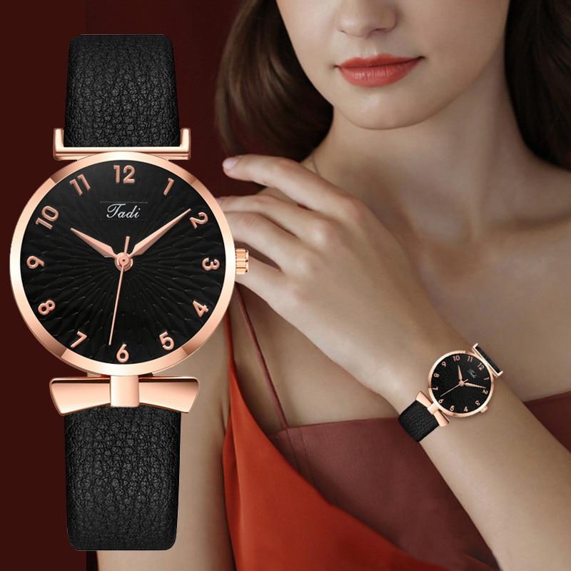 New Women Watches 2020 Luxury Top Ladies Rosy Gold Wrist Watches Women Leather Strap Quartz Watch Fo