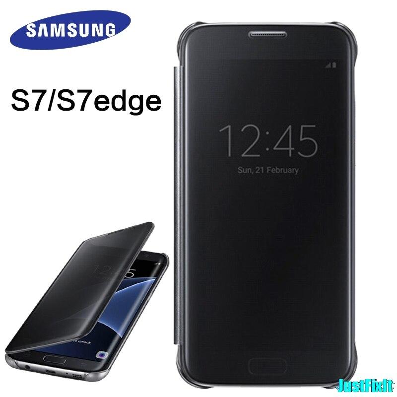 100% Original para Samsung Galaxy S7 G930F funda espejo transparente vista inteligente funda protectora para dormir inteligente funda para teléfono