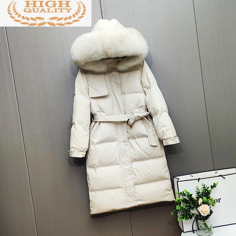 Abajo chaqueta de invierno de mujeres cuello de piel de zorro Real...