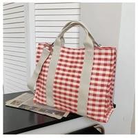 ladies fashion canvas literary plaid tote handbag shoulder bag large capacity leisure shopping travel messenger beach bag