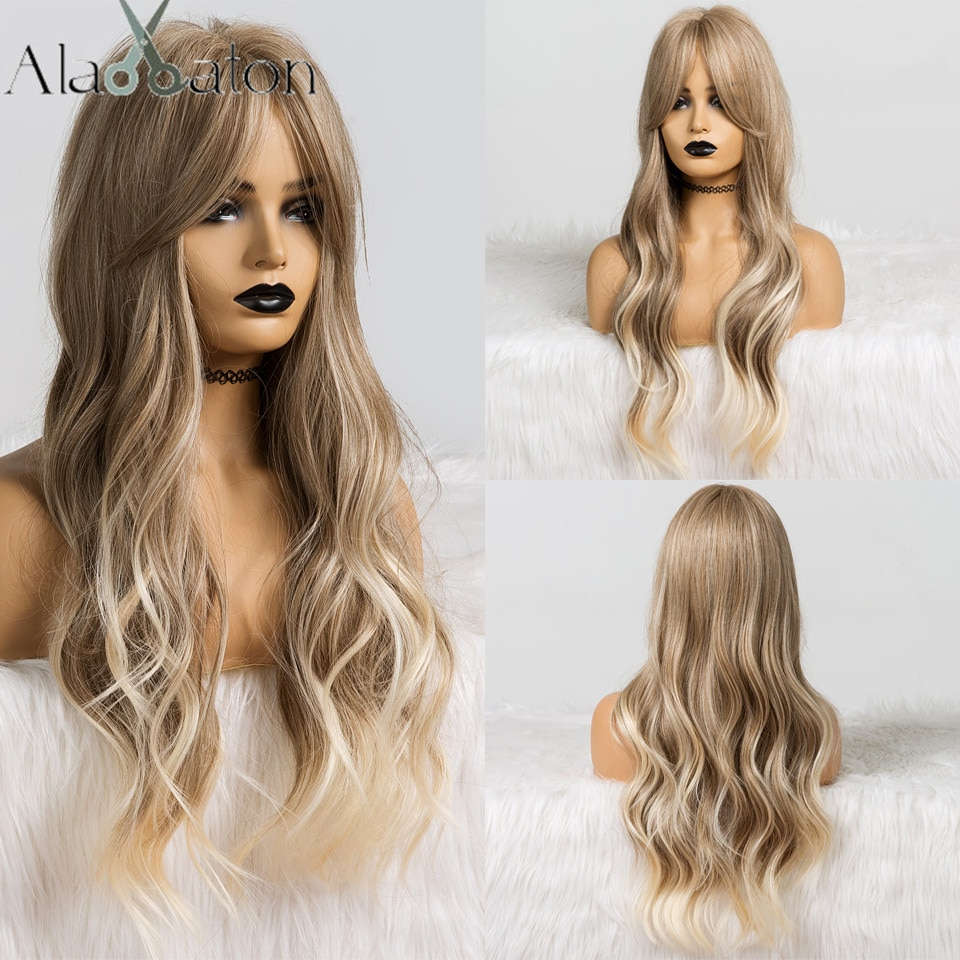 ALAN EATON Long Ombre Light Ash Brown Blonde Wavy Wig Cosplay Party Daily Synthetic Wig for Women Hi